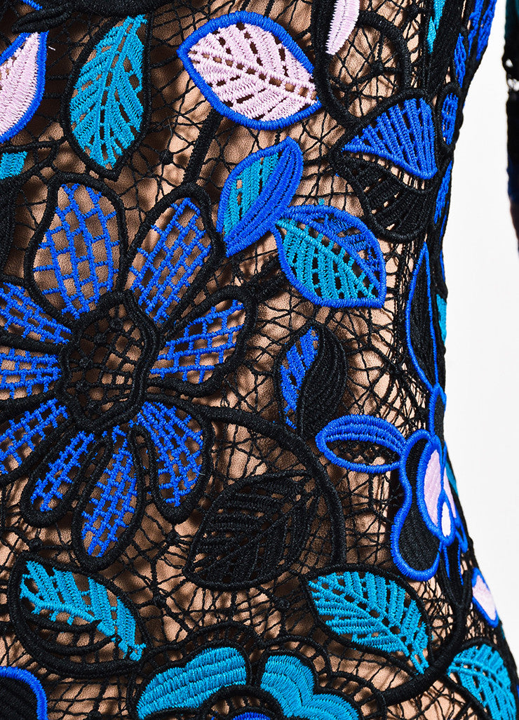 Self Portrait Black, Blue, and Pink Guipere Lace Long Sleeve Floral Dress Detail