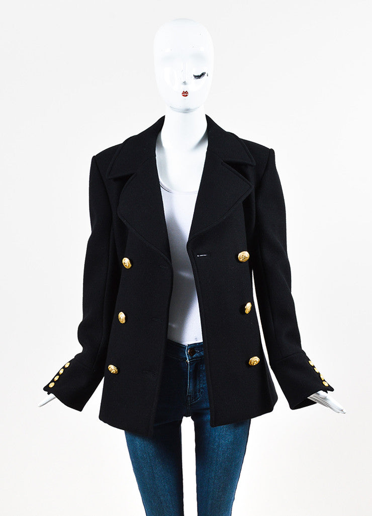 Balmain Black Virgin Wool and Cashmere Double Breasted Jacket Frontview