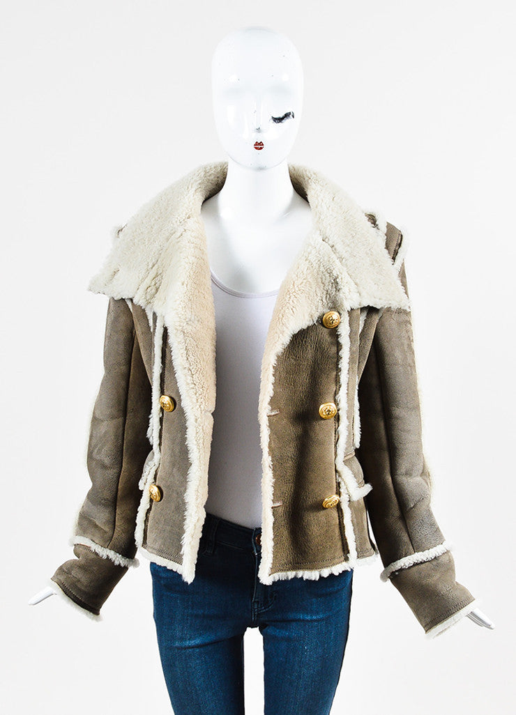 Balmain Grey Lambskin and Shearling Double Breasted Coat Frontview