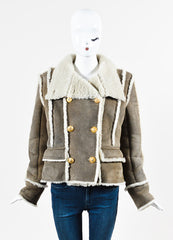 Balmain Grey Lambskin and Shearling Double Breasted Coat Frontview 2