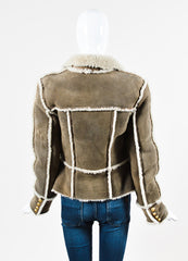 Balmain Grey Lambskin and Shearling Double Breasted Coat Backview