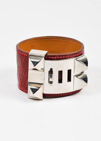 "Hermes ""Rouge Vif"" Red Alligator Palladium ""Collier de Chien"" Cuff Bracelet Sideview"