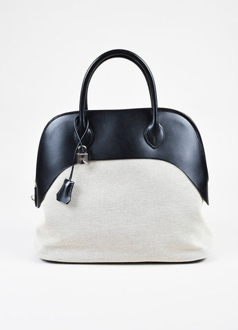 "Hermes ""Bolide Paddock"" Black and White Vache Leather Natural Toile Canvas Satchel Bag Frontview"