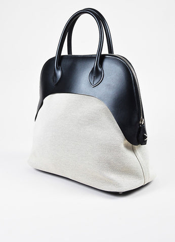 "Hermes ""Bolide Paddock"" Black and White Vache Leather Natural Toile Canvas Satchel Bag Sideview"