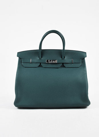 "Hermes ""Birkin 40"" Colvert Teal Blue Clemence Grain Leather Tote Bag Frontview"