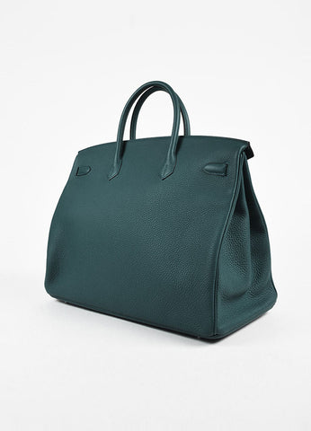 "Hermes ""Birkin 40"" Colvert Teal Blue Clemence Grain Leather Tote Bag Sideview"