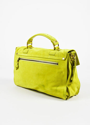 "Proenza Schouler ""Medium PS1"" Neon Yellow Suede Leather Flap Satchel Bag Sideview"