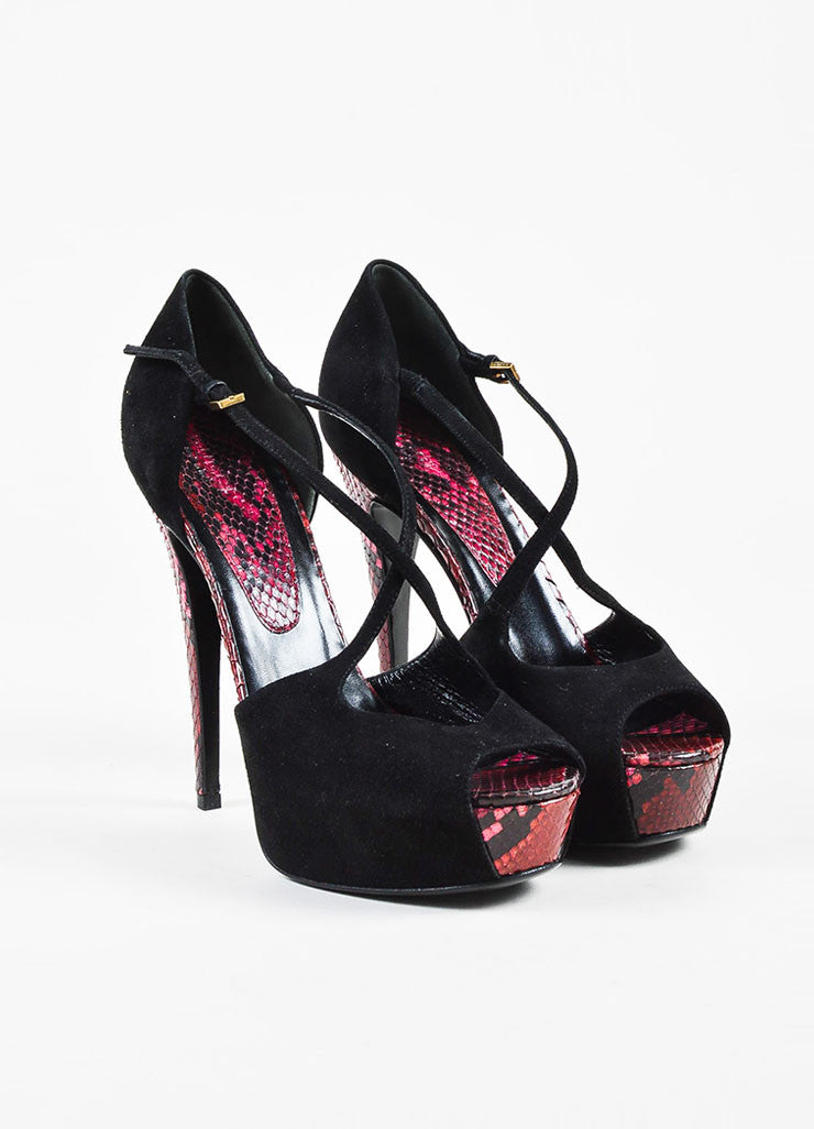 "Gucci ""Lili"" Black and Red Suede and Python Peep Toe Ankle Strap Platform Pumps Frontview"