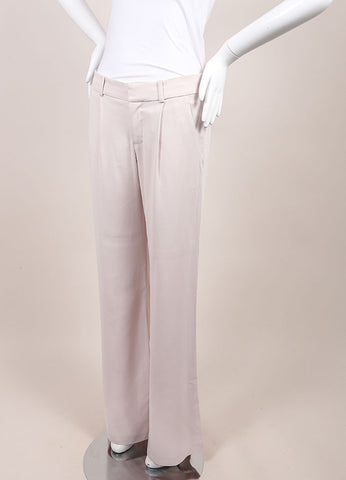 "A.L.C. New With Tags Powder Pink Wide Flare Leg Pleated ""Rude"" Trouser Pants Sideview"
