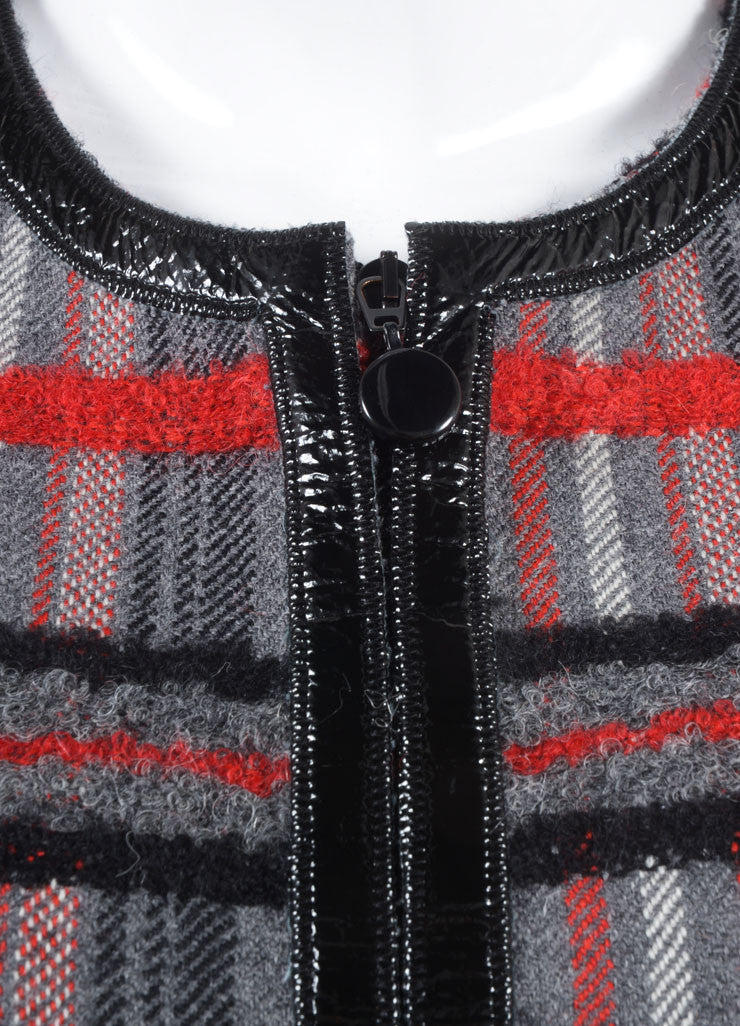 Akris Punto New With Tags Grey, Red, and Black Plaid Wool Zip Crop Sleeve Jacket Detail