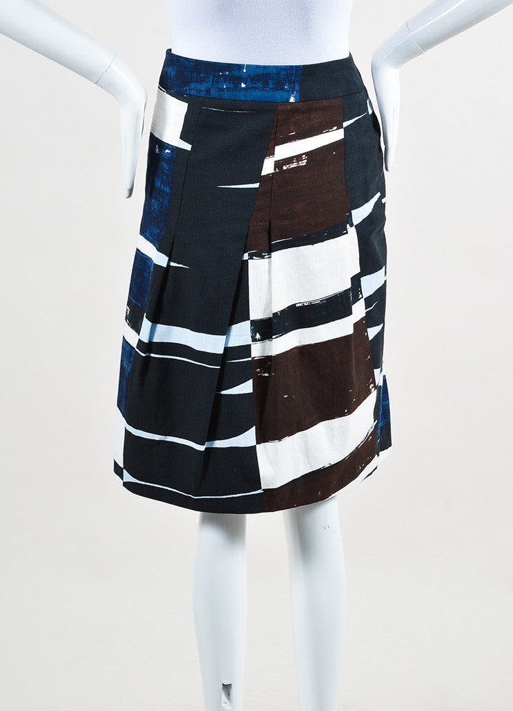 Akris Punto Navy Blue, White, and Brown Printed Pleated A-Line Skirt Backview