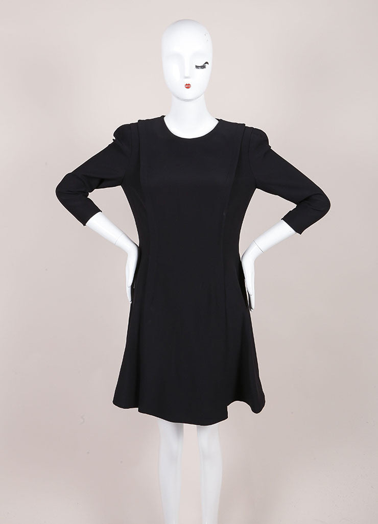 Alexander McQueen Black Cropped Sleeve Skater Dress Frontview