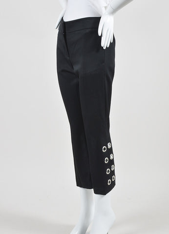 Alexander McQueen Black and Silver Toned Grommet Cropped Pants Sideview