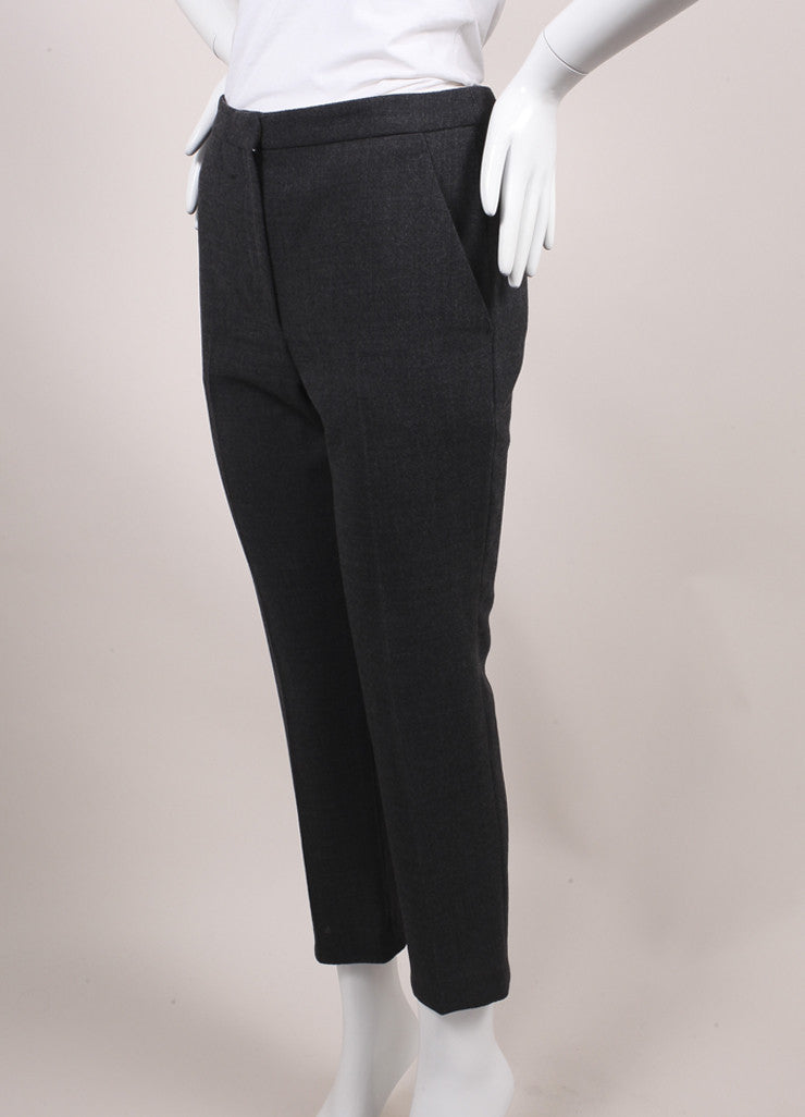 Alexander McQueen New With Tags Dark Grey Melange Crepe Wool Ankle Trousers  Sideview