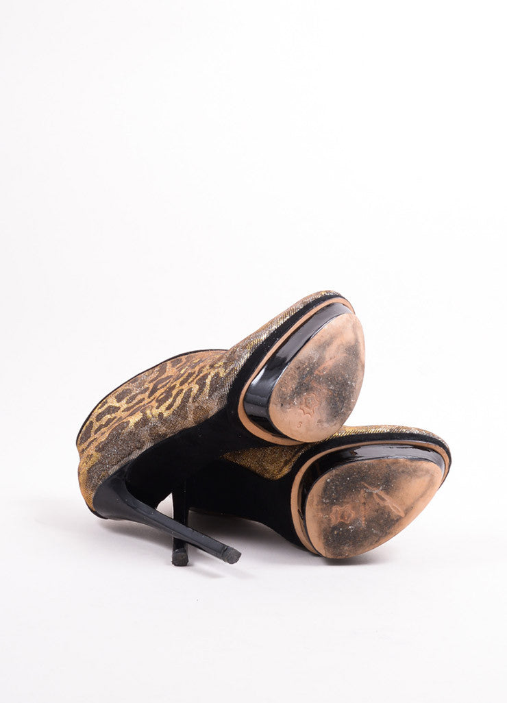"B Brian Atwood Gold and Silver Glitter Leopard ""Fortosa"" Booties Outsoles"