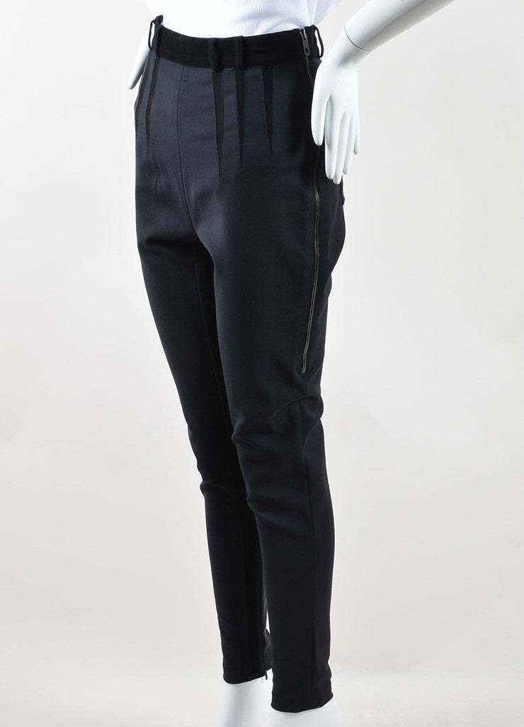 Balenciaga Black Wool and Cotton Stretch Knit Zipper Leg Skinny Pants Sideview