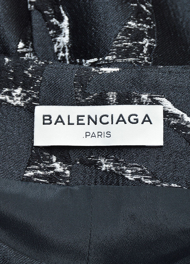 Balenciaga Black and White Cotton Marble Printed Jacquard Dress Brand