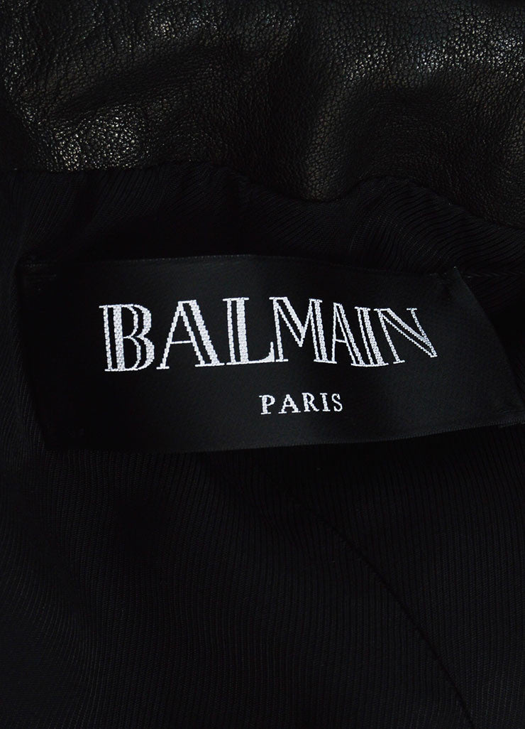 Balmain Black Lambskin Leather Lion Medallion Button Structured Blazer Brand