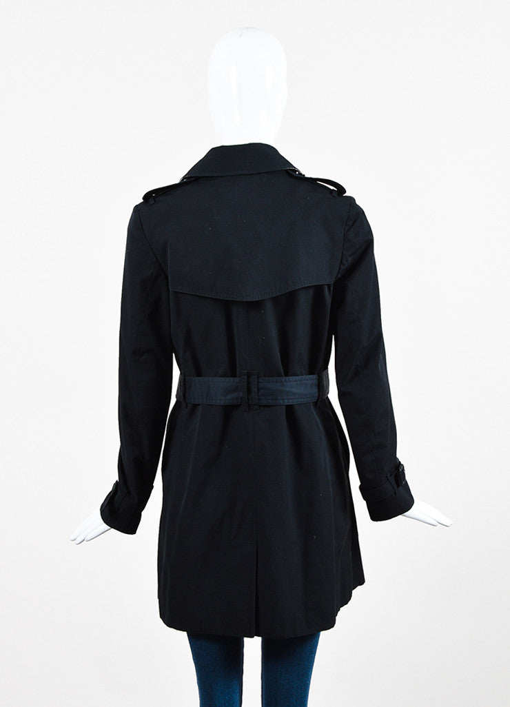 Burberry London Black Cotton Blend Belted Double Breasted Trench Coat Backview