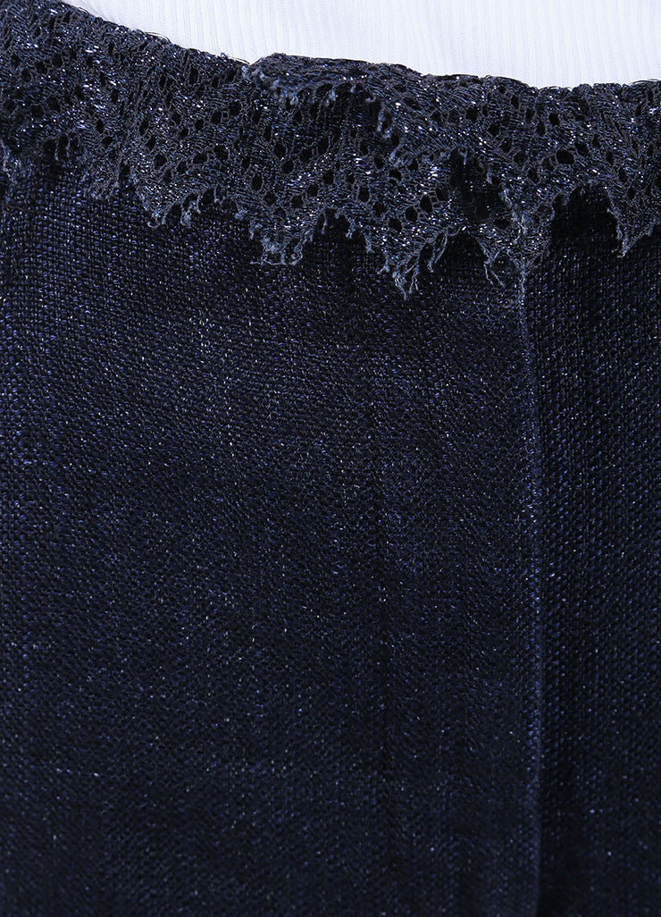 Chanel Dark Blue Linen High Waisted Lace Trim Flared Pants Detail