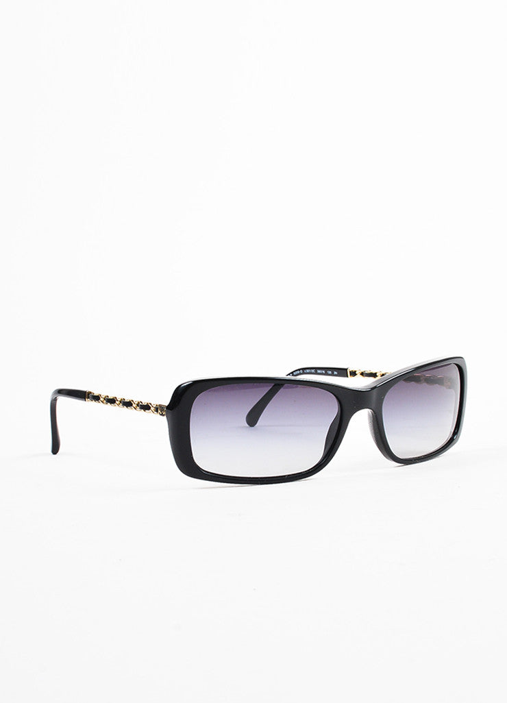 Chanel Black Gold Toned Chain Link Rectangular Sunglasses Sideview