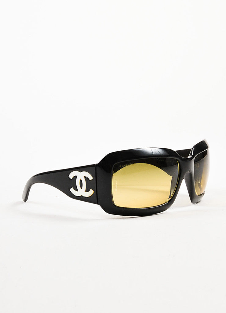 "Chanel Black and Mother of Pearl 'CC' Logo Rectangle Frame ""5076 H"" Sunglasses Sideview"