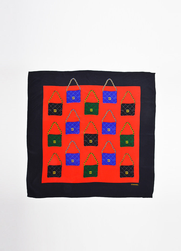 Chanel Black, Red, and Green Woven Silk Flap Bag Print Oversized Square Scarf Frontview 2