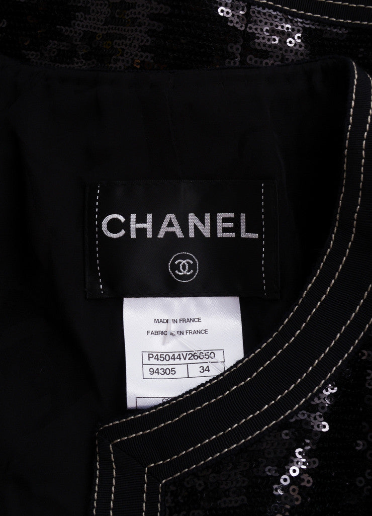 Chanel New With Tags Black Sequin Embellished Cropped Zip Jacket Brand