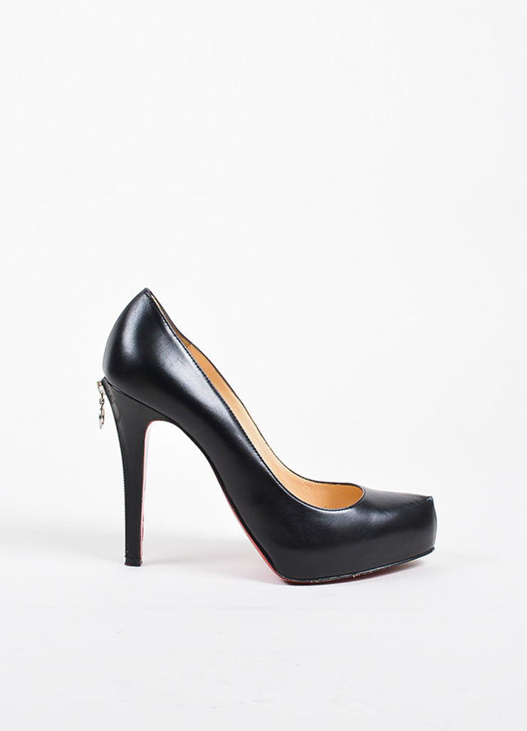 "Christian Louboutin Black Leather ""Roland Zip 120"" Platform Pumps Sideview"