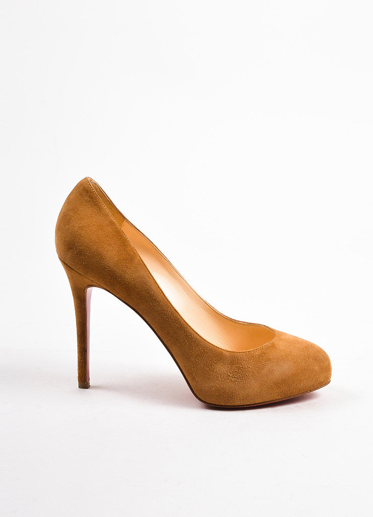 "Christian Louboutin Camel Suede ""New Declic 120"" Pumps Sideview"