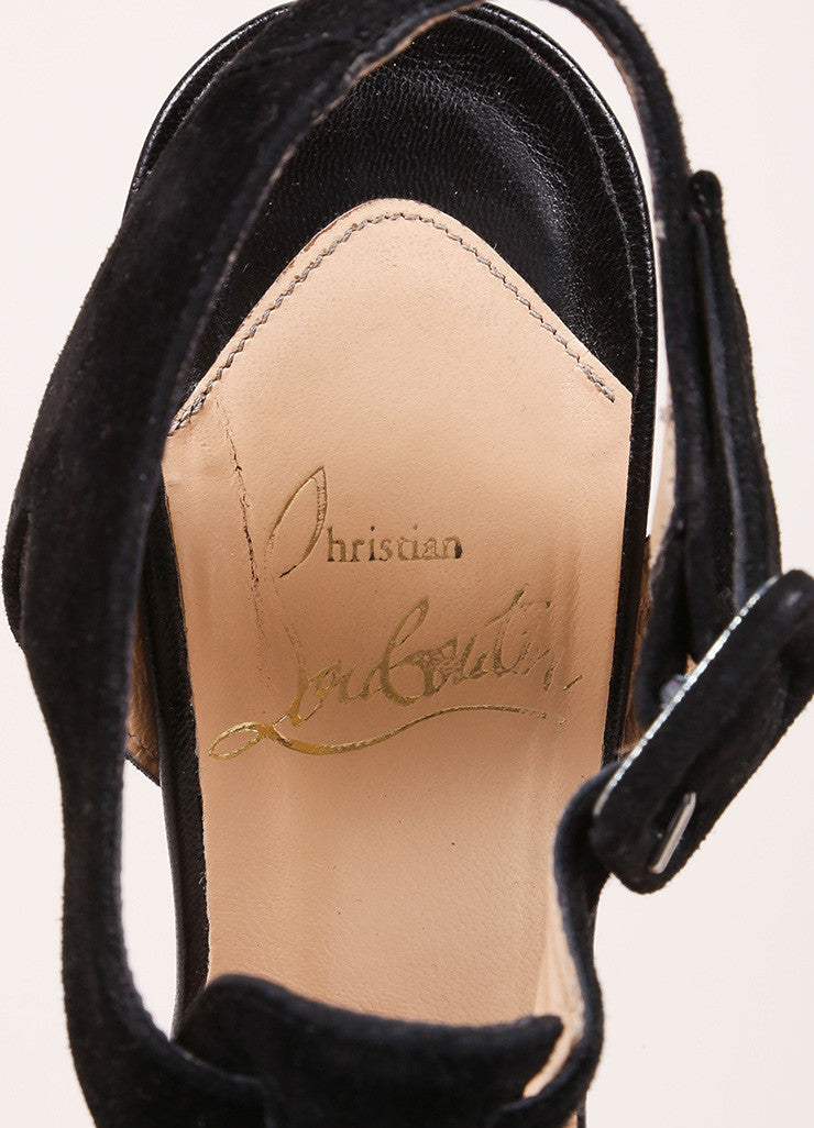 "Christian Louboutin Black Suede Peep Toe T-Strap ""Orlan 140"" Sandals Brand"