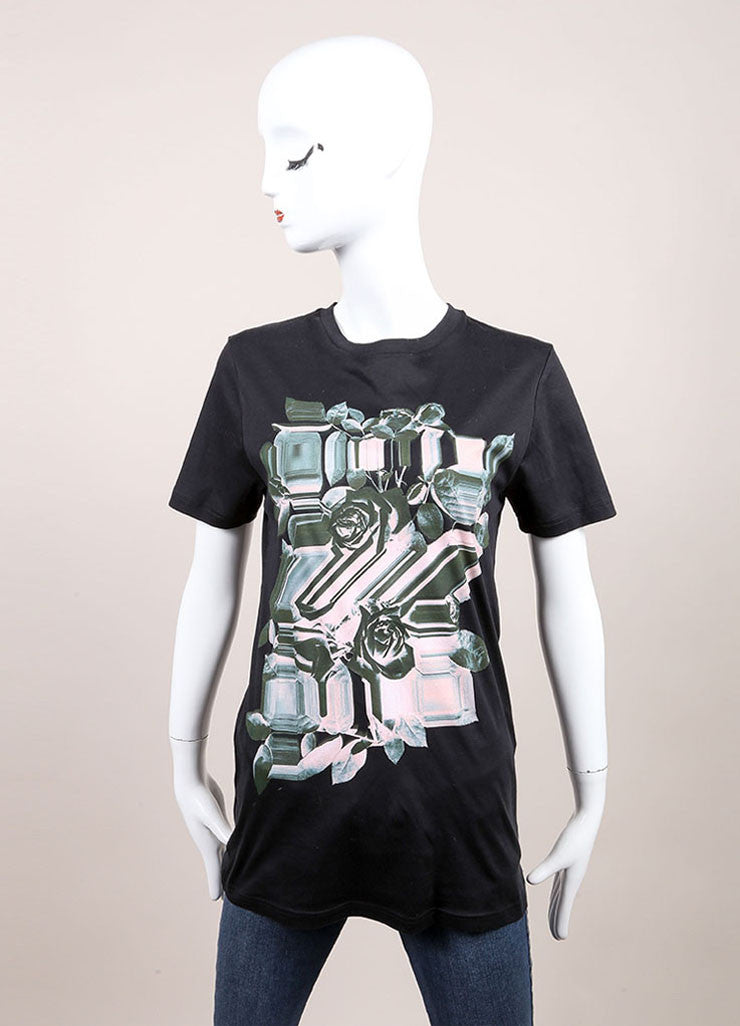 Christopher Kane New With Tags Black, Green, and Pink Floral Print Short Sleeve T Shirt Frontview