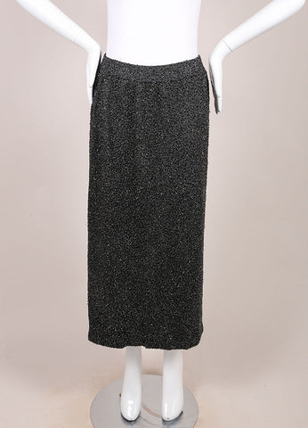 Donna Karan Charcoal Grey Bugle Beaded Wool Blend Knit Midi Skirt Frontview