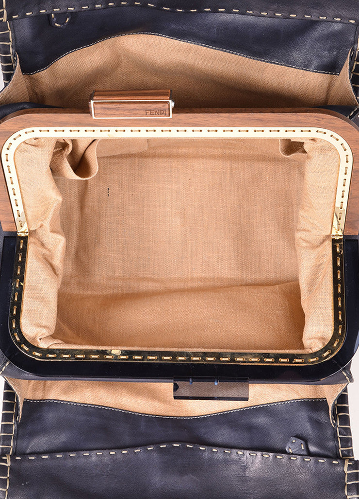 "Fendi Navy Blue Leather ""Firenze"" Frame Tote Bag Interior"