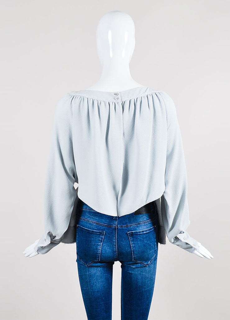 Grey Fendi Textured Silk Frayed Tie Open Back Long Sleeve Blouse Backview