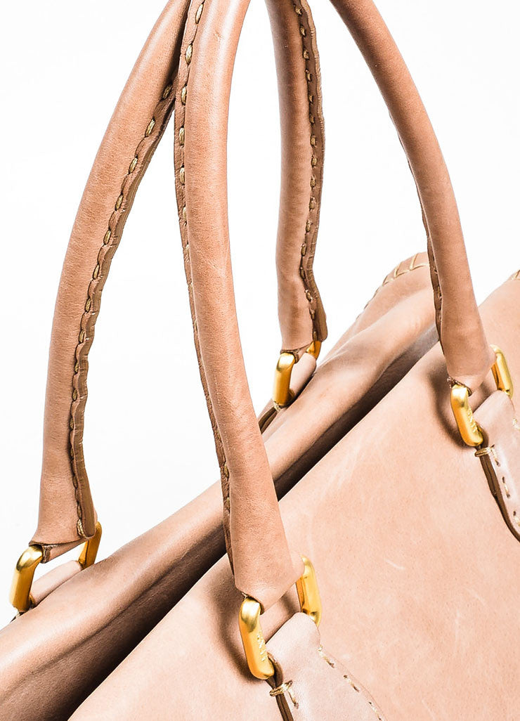Taupe Fendi Leather Stitched Firenze Frame Satchel Bag Detail 2