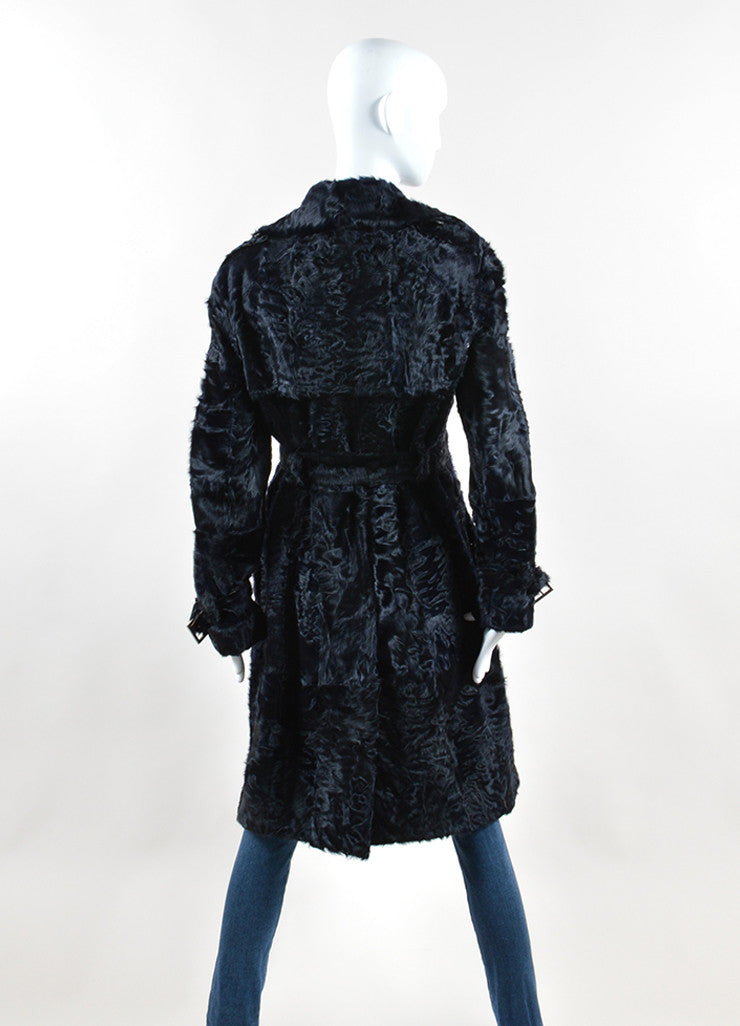 Gianfranco Ferre White Label Black Lamb Fur Button Belted Long Coat  Backview