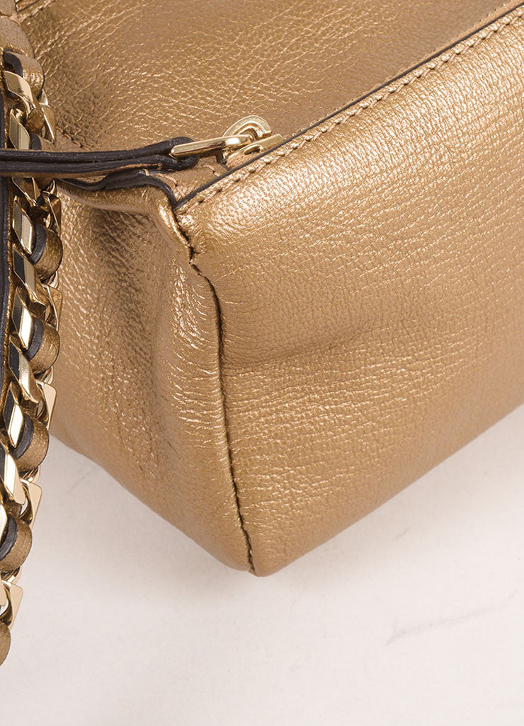 "Givenchy Gold Metallic Grained Leather ""Pandora"" Chain Wristlet Clutch Bag Detail"