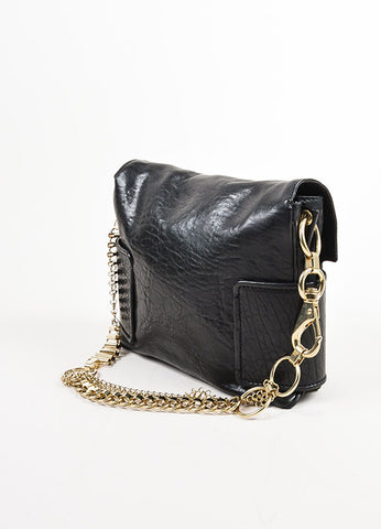 Givenchy Black Leather Gold Toned Multi Chain Strap Shoulder Bag Sideview