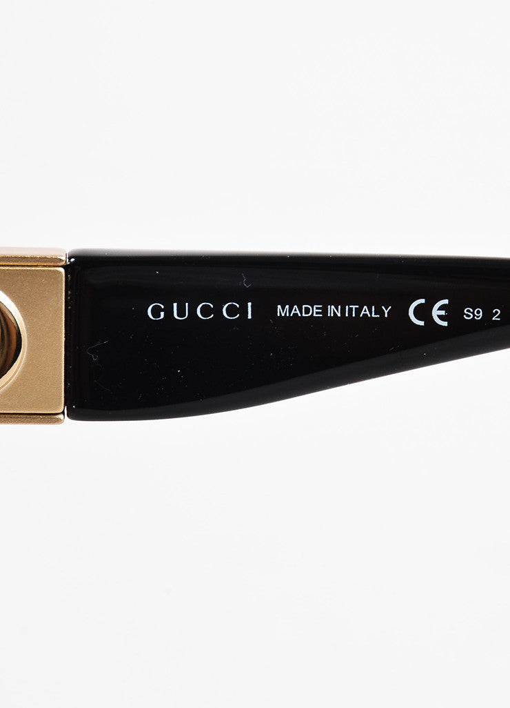 Gucci Black Gold Tone 'GG' Logo Oversized Sunglasses Brand