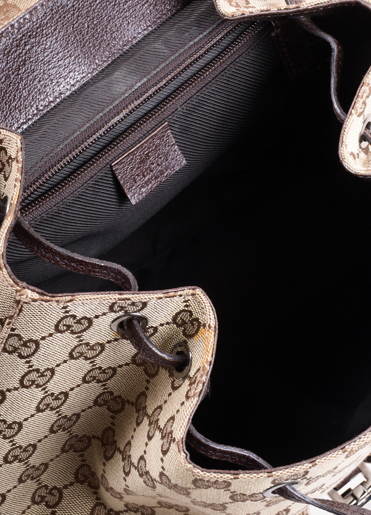 "Gucci Brown ""GG"" Monogram Canvas Backpack Interior"