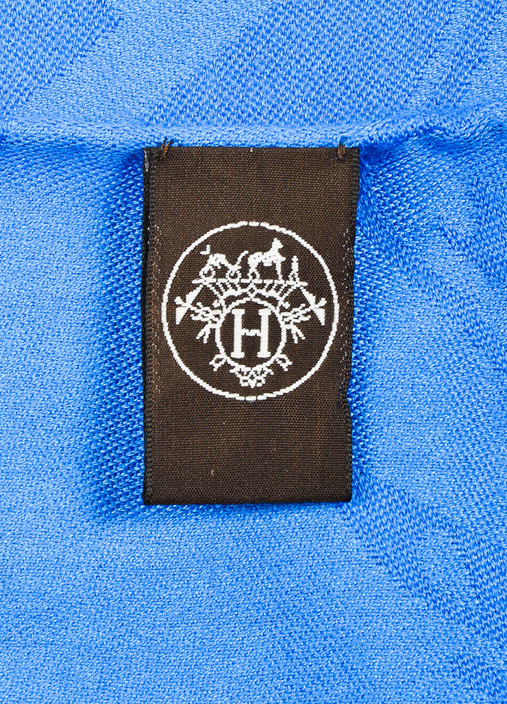 Hermes Blue Cashmere and Silk Jacquard Stripe Logo Print Fringe Wrap Shawl Scarf Brand