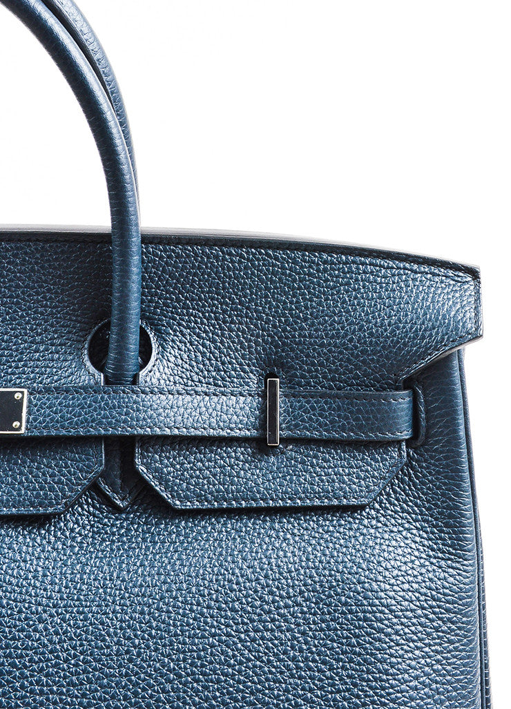 "Hermes Navy Blue Clemence Leather Palladium Hardware ""Birkin"" 40 cm Bag Detail 5"