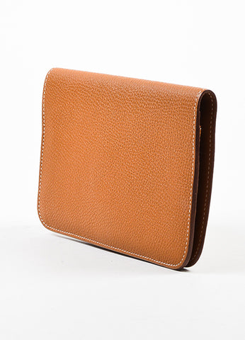 "Hermes Tan ""Gold"" Togo Leather ""Dogon GM"" Wallet Sideview"