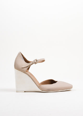 Taupe and Cream Hermes Leather Wooden Wedge Heel Ankle Strap Pumps Sideview