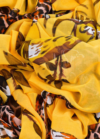 Hermes Yellow and Brown Floral and Leopard Print Oversized Scarf Detail