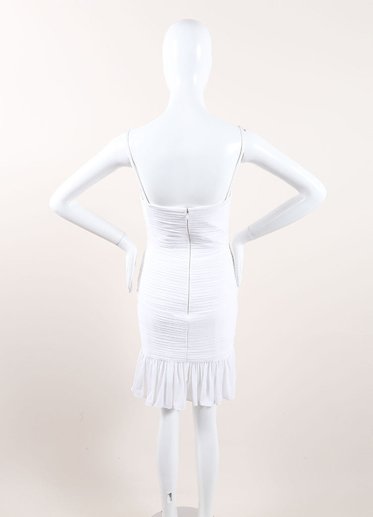 Herve Leroux New With Tags White Stretch Sleeveless Ruched Flounce Dress Backview