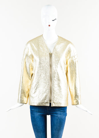"Gold Isabel Marant Pebbled Leather ""Camelia"" Gold Tone Zip Jacket Front 2"