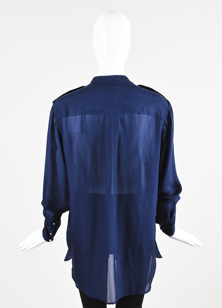 "Blue and Black Isabel Marant Silk Plisse Front Long Sleeve ""Sophia"" Blouse Backview"