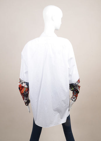"Jonathan Saunders New With Tags White and Red Poplin Floral Print ""Eliza"" Shirt Backview"